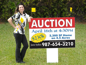 real estate auction signs in compact size