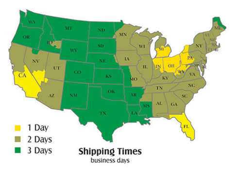 Shipping map 1-800-The-Sign
